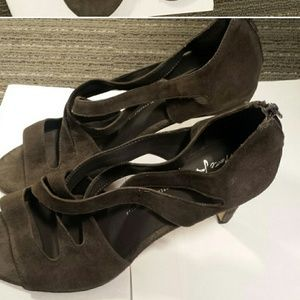 ac736162569 Shoes - NWT grey suede strappy sandals 3 inch heel
